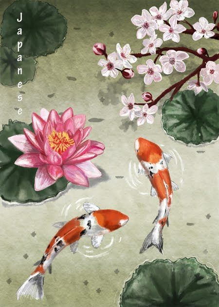 Cherry Blossom Lotus Flower And Koi Japanese Designs