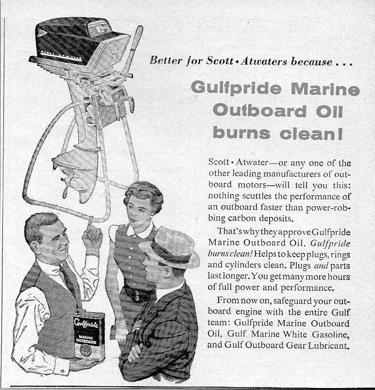 1957 Print Ad Gulfpride Marine Oil Scott-Atwater Outboard