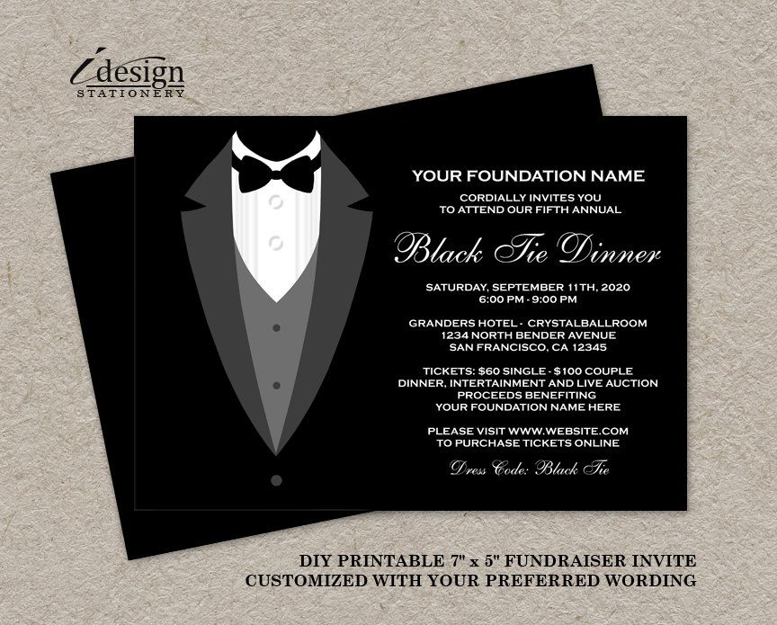 Black Tie Dinner Fundraising Invitations