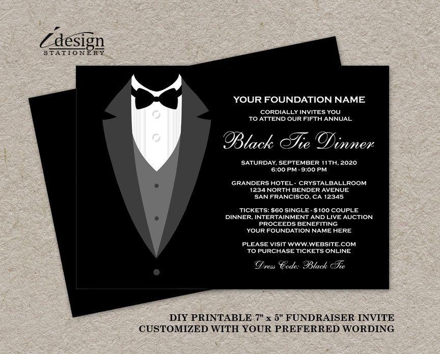 Printable Tuxedo Invitation For Gala Retirement Black And
