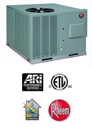 3 5 Ton 14 Seer Rheem 100k Btu 80 Afue Dual Fuel Package Heat Pump Rqpwb042jk10ebva Heating And Air Conditioning Air Conditioning Unit Room Air Conditioner