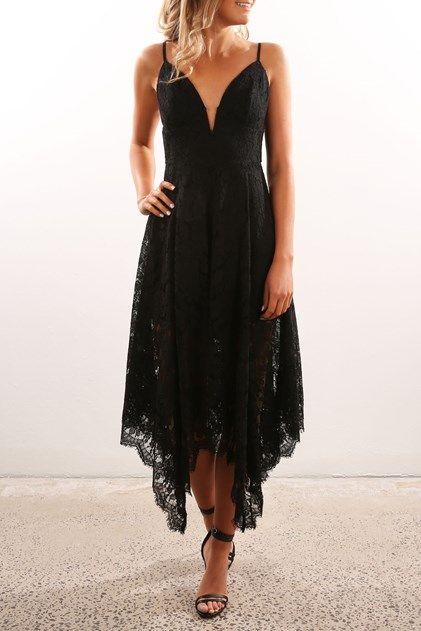 Uneven Lace Dress Black