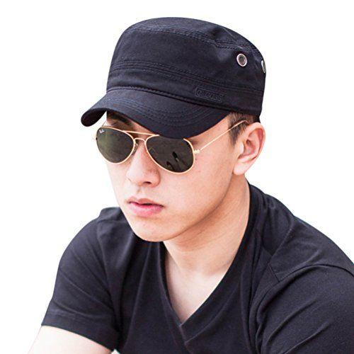 CACUSS Men s Cotton Army Cap Cadet Hat Military Flat Top Adjustable  Baseball Cap(Black) 35eb5956de73