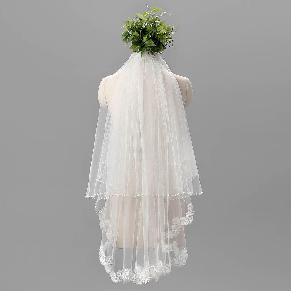 Auf lager 2016 1 meter Romantische Günstige Brautschleier Drei Schicht Brautschleier mit Spitze Rand Weiß Schleier für braut
