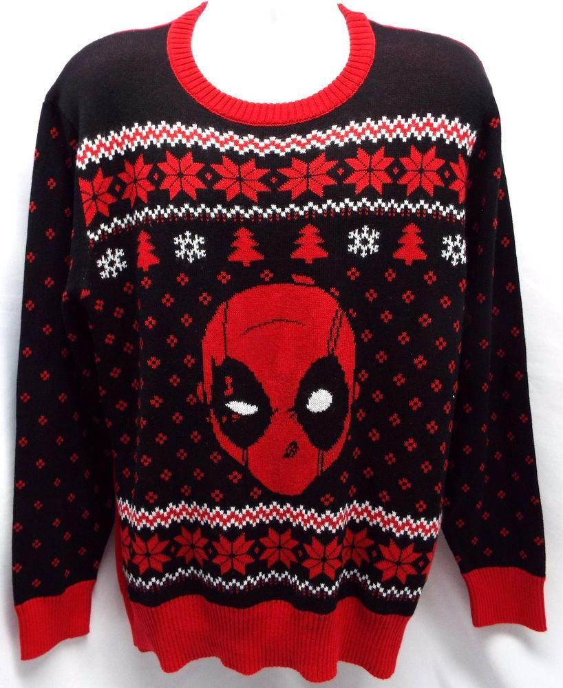 Deadpool Ugly Christmas Sweater (L) Knit Marvel Mr. Wilson Red ...