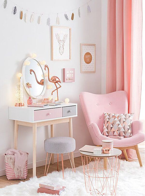 23 irresistible copper and blush home decor ideas that Pretty room colors for girls