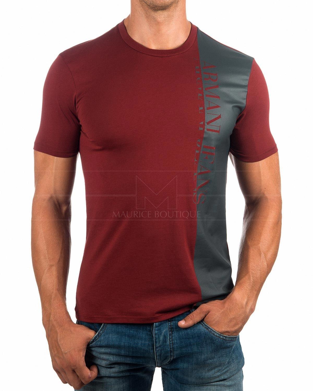 cced5bdedb Camisetas Armani - Burdeos & Gris | Envio Gratis Mens Polo T Shirts, Boys  Shirts