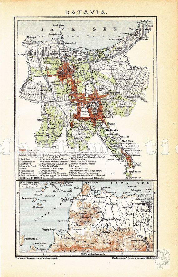 1905 Java Batavia In The 19th Century Present By Maptimistic 11 90 Map Art Print Art Poster Prints