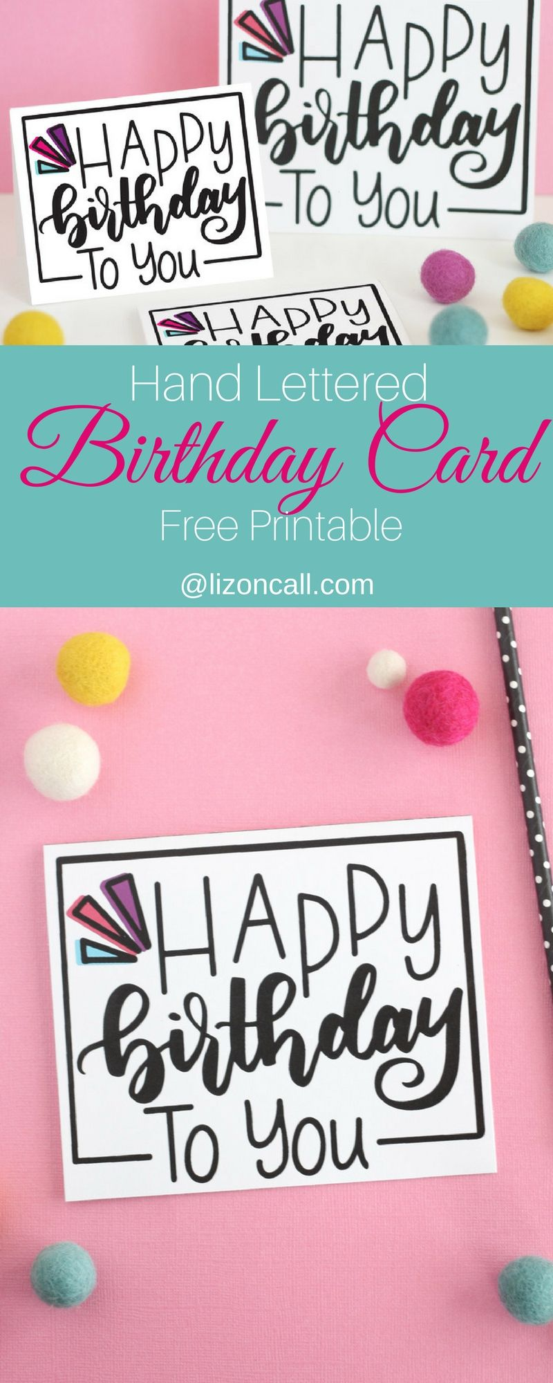 Download Hand Lettered Free Printable Birthday Card | Birthday ...