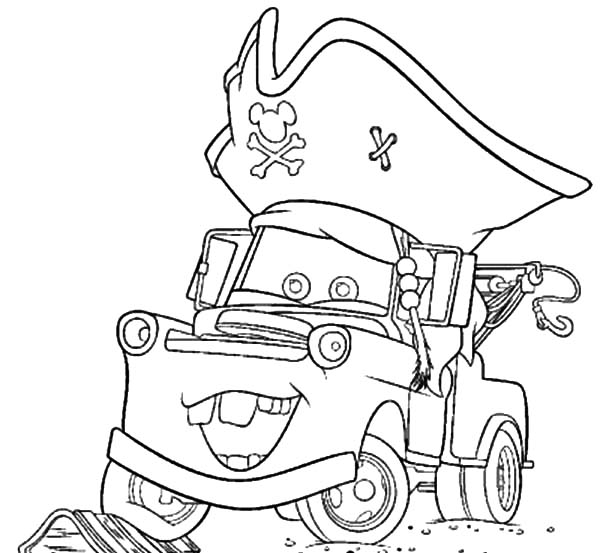 Tow Mater Wearing Pirate Hat Coloring Pages Color Luna Pirate Hats Coloring Pages Tow Mater