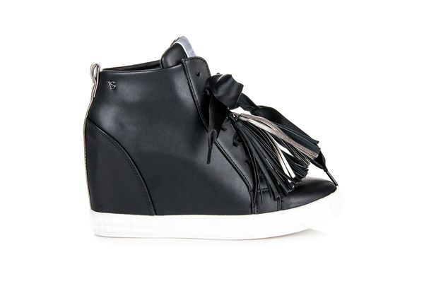 Vices New Collection Sneakersy Z Fredzlami Czarne Wedge Sneaker Shoes Sneakers