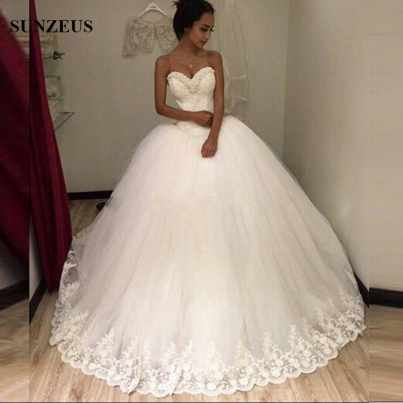 Sparkly Beaded Pearls Luxurious Wedding Gowns Ball Gown Off The Shoulder Lace Bride Dresses 2017