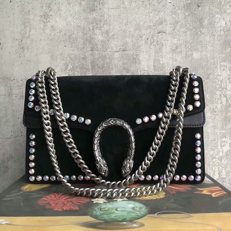 c9383e1c198 Gucci Dionysus Small Crystal Shoulder Bag 400249 28cm Black Suede ...
