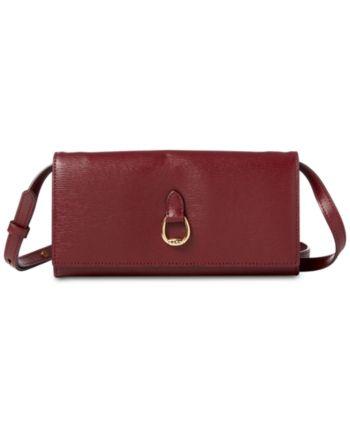 861dd7b2f Lauren Ralph Lauren Bennington Crossbody Leather Wallet - Merlot/Gold