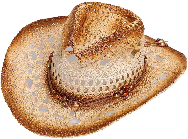 Livingston Men /& Womens Woven Straw Cowboy Hat w//Hat Band