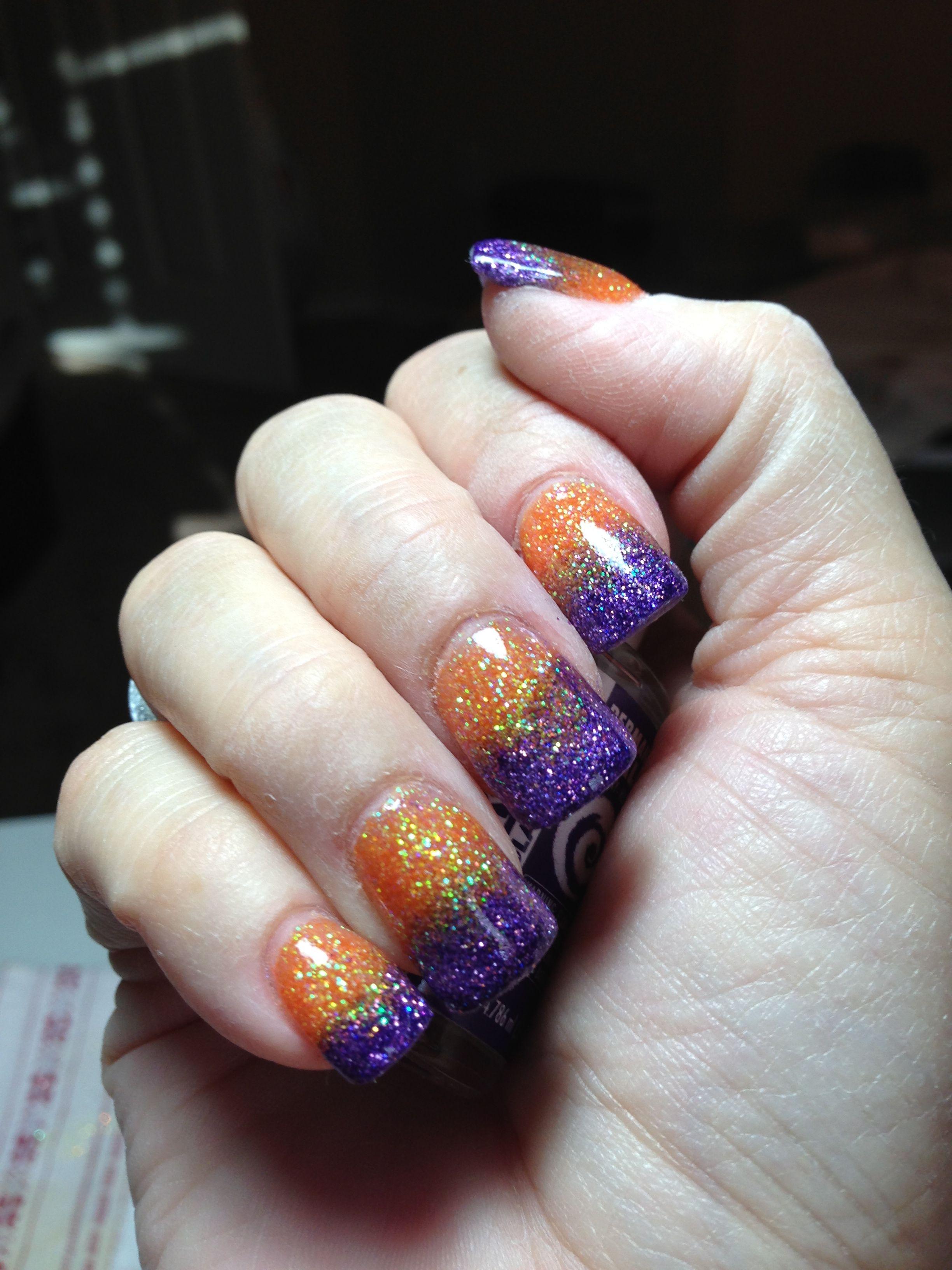 Halloween Nails Purple And Orange Glitter Black And Purple Nails Halloween Nails Purple Halloween