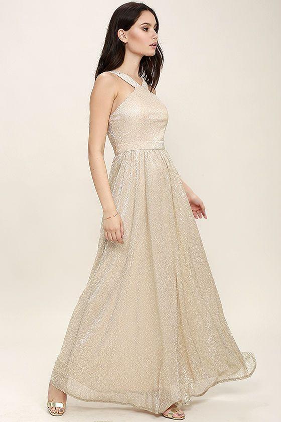 Gold metallic gown | Always Moving Gold Maxi Dress! Lightweight ...