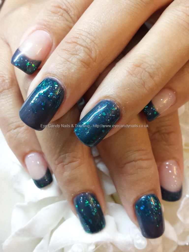Dark grey gel polish with teal green glitter polish | Nueva nails ...