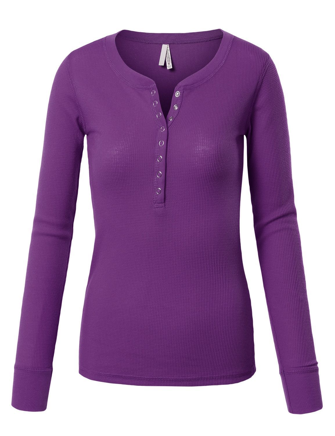 Womens fitted round neck long sleeve henley thermal shirt clearance