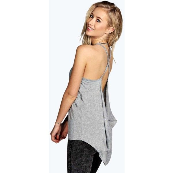 Boohoo Serena Cross Drape Back Oversized Cami ($10) ❤ liked on Polyvore featuring tops, grey, high neck tank, high neck camisole, crop tank, ribbed crop top and layering tanks