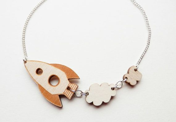 Rocket Ship Wooden Necklace by kateslittlestore on Etsy, $20.00
