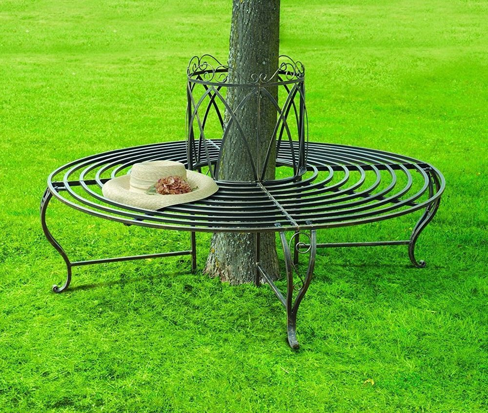Round Metal Tree Bench Bronze Garden Outdoor Seat Chair Circular