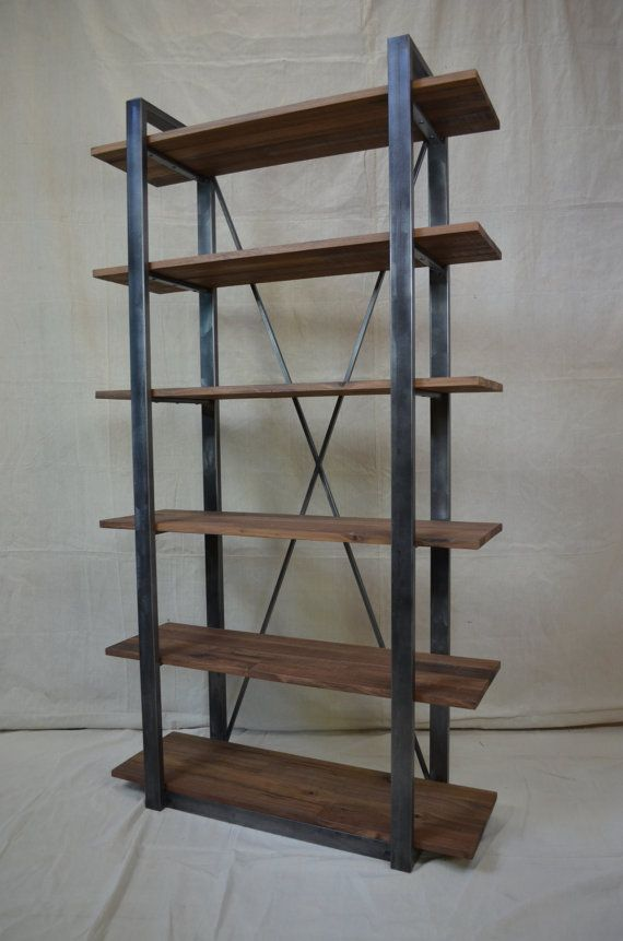 industrial rustic shelving walnut and metal shelf for the home rh pinterest com custom metal shelving units custom metal shelf dallas