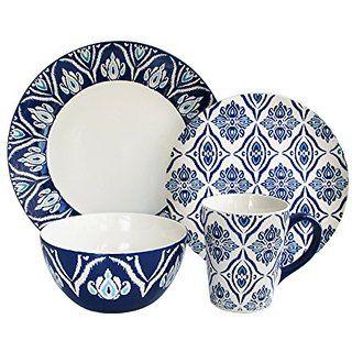 49 99 American Atelier Pirouette 16 Piece Dinnerware Set Blue