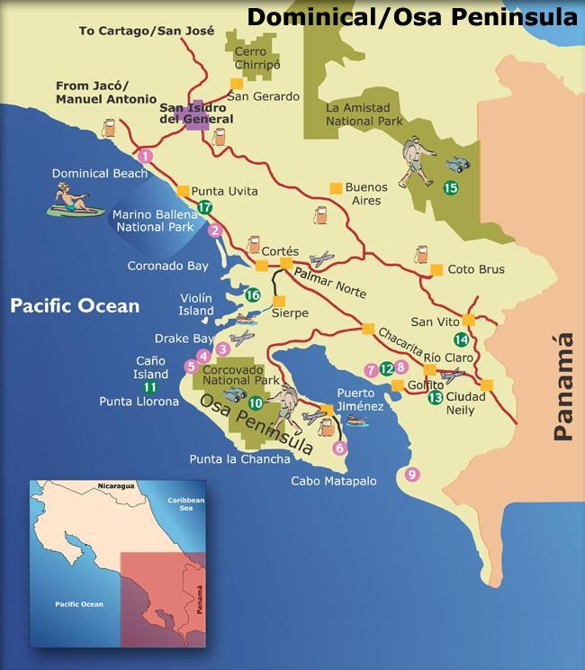 osa costa rica map Dominical And Osa Peninsula Costa Rica Map Moving To Costa Rica Costa Rica Travel osa costa rica map