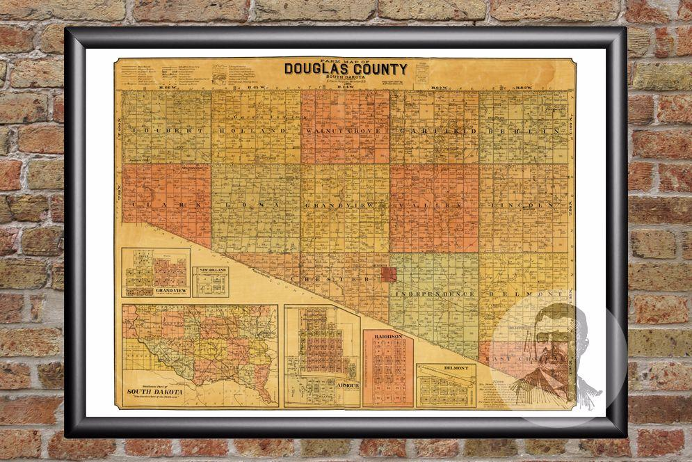 Douglas County SD Map 1900 Douglas