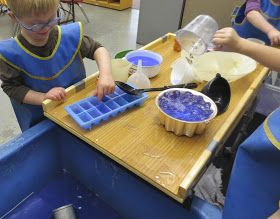 A few weeks ago, I wrote about the evolution of a wooden tray  that created a second level of play for the children at the sensory table. ...