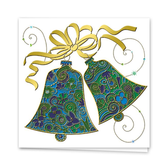 4 campanas oro tarjeta de navidad de campanas impresas - Campanas de navidad ...