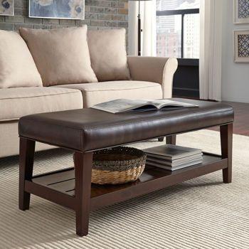 Zander Bonded Leather Bench Brown Living Room Decor