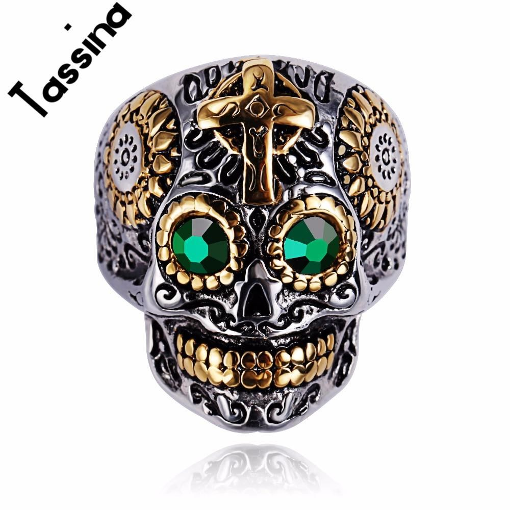 8bf9fe059 Punk Biker skeleton skull ring Gold Color with green eyes | Paleo ...