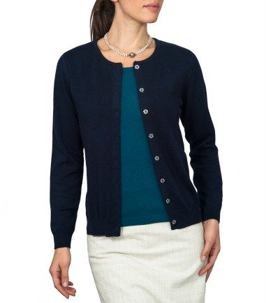 Navy Blue Cashmere Womens Crew Neck Cardigan Ladies Classic Round Neck Twin  Set