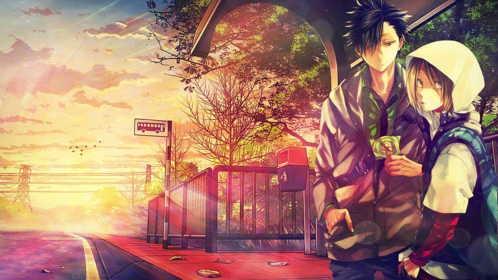 Busstop Morning Kenma And Kuroo By 34kai Anime Tapete Hintergrundbilder Anime