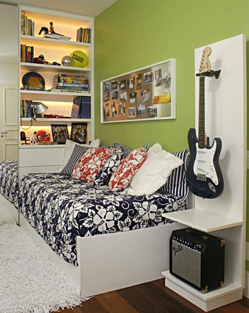 green, teenager bedroom, shelves, guitar, pillows, carpet, guitar