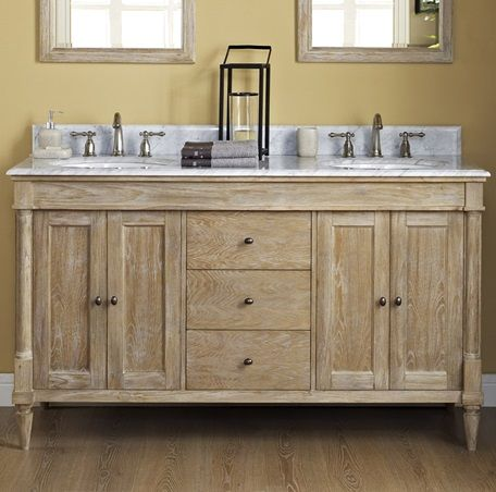 V6021d Fairmont Rustic Chic 60 Double Bowl Vanity Weathered Oak Rustic Bathroom Pinterest