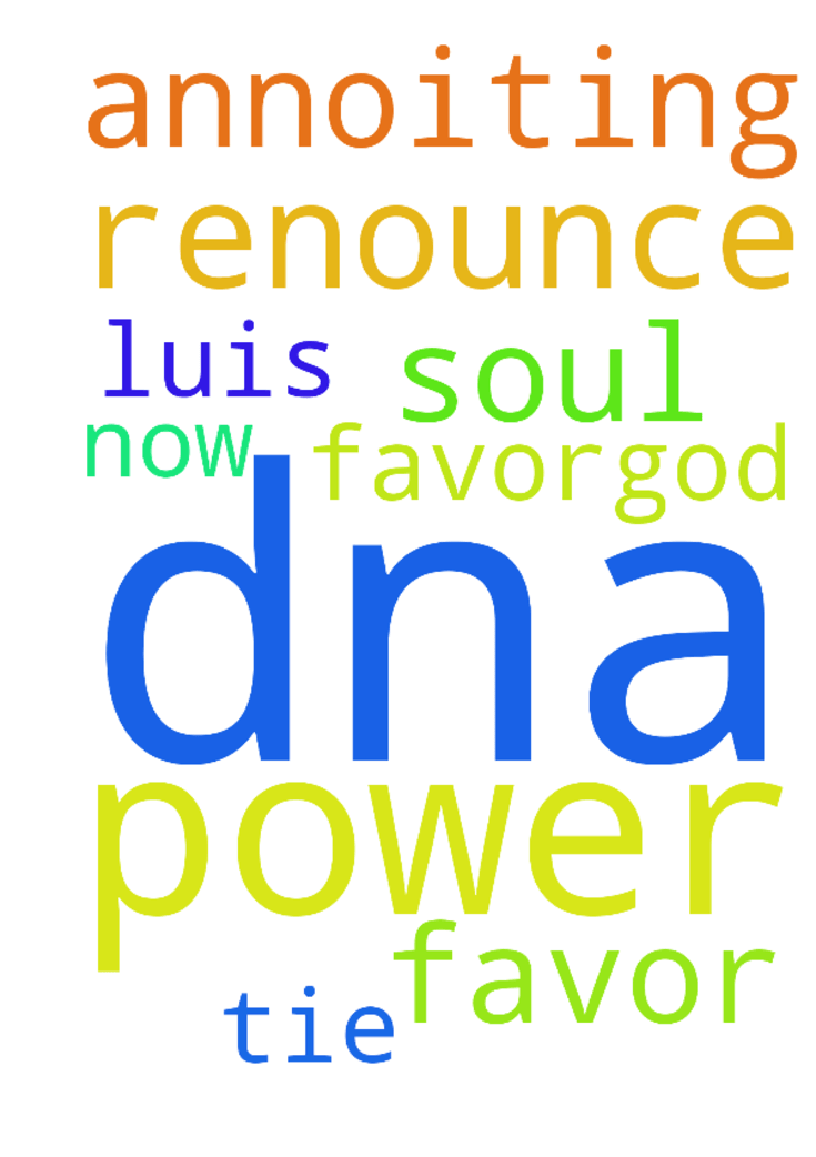 Help -  	Luis can't have my power favor�God Dna annoiting I renounce the soul tie he can only have favor for me now  Posted at: https://prayerrequest.com/t/bnx #pray #prayer #request #prayerrequest