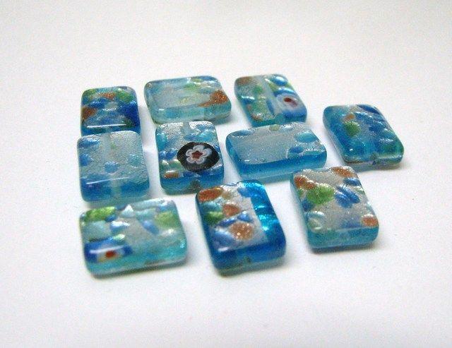 @Niki $6 Glass Silver Foil Blue Rectangular Beads