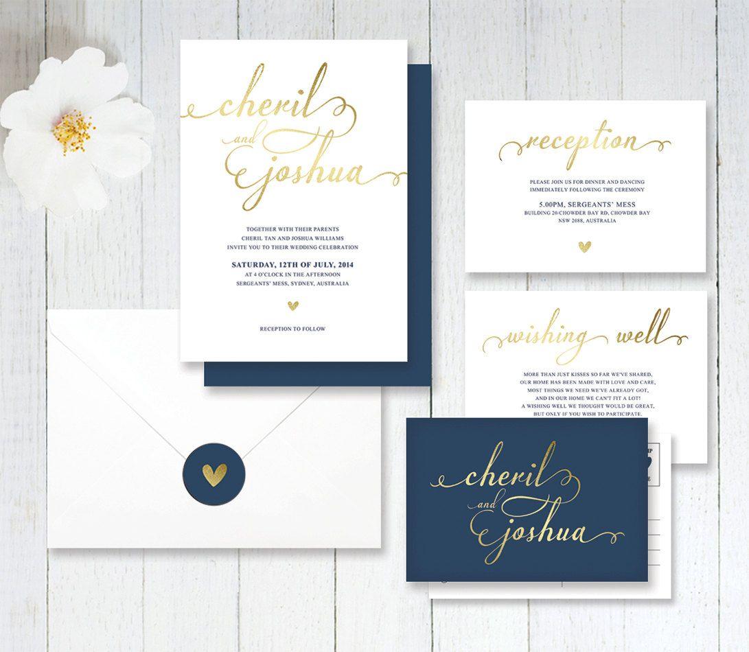 Wedding invitations wedding invitation purple gold ornate - Simple Navy And Gold Wedding Invitation By Littlebridgedesign