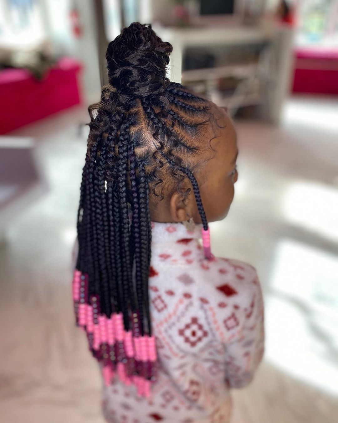 Braidsbyash On Instagram Fun Bun X Knotless On This Queen Trust The Process B In 2020 Kids Hairstyles Black Kids Hairstyles Kids Hairstyles Girls