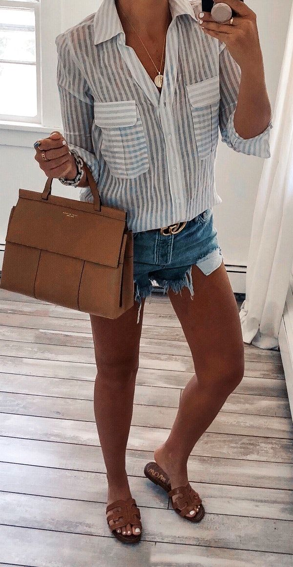 Summer outfit inspiration with a white button up shirt with