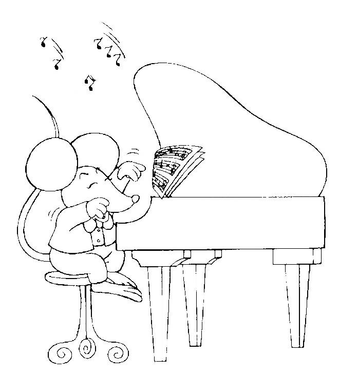 Mouse Playing Piano Coloring Pages Coloring Pages Cute Mouse
