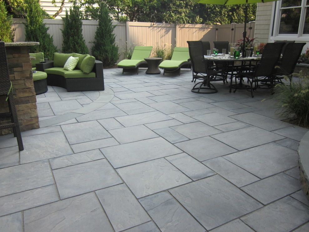 Cambridge Pavers For A Contemporary Patio With Perennial