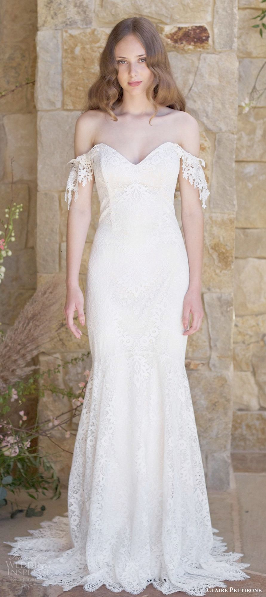 Claire pettibone spring bridal off shoulder sweetheart lace
