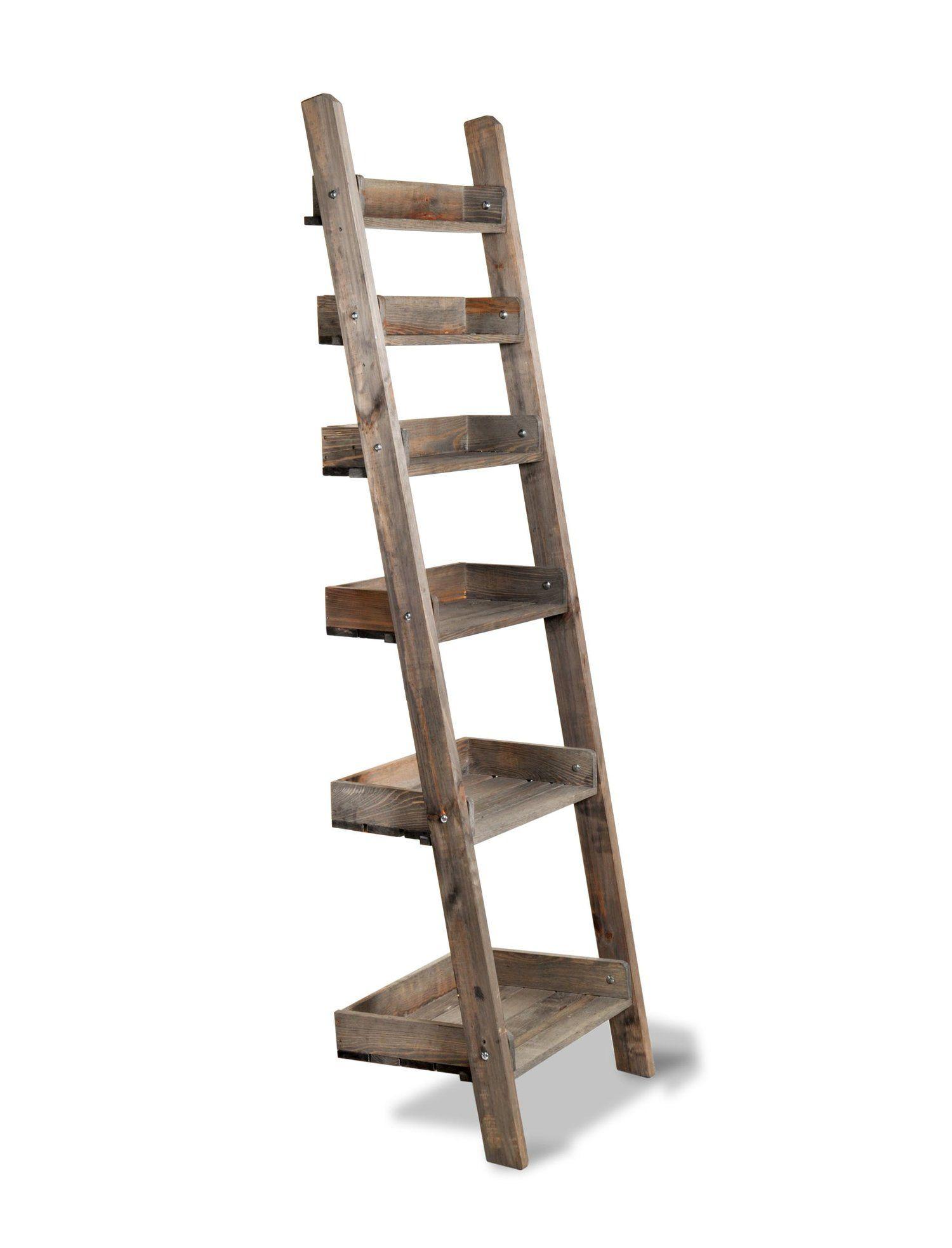 Aldworth Rustic Spruce Wooden Ladder Shelves Wooden Ladder Shelf Rustic Wooden Shelves Wooden Ladder