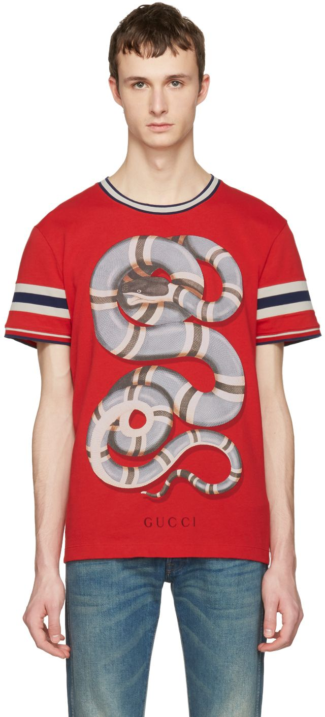7703ea175a7 Gucci  Red Snake T-Shirt
