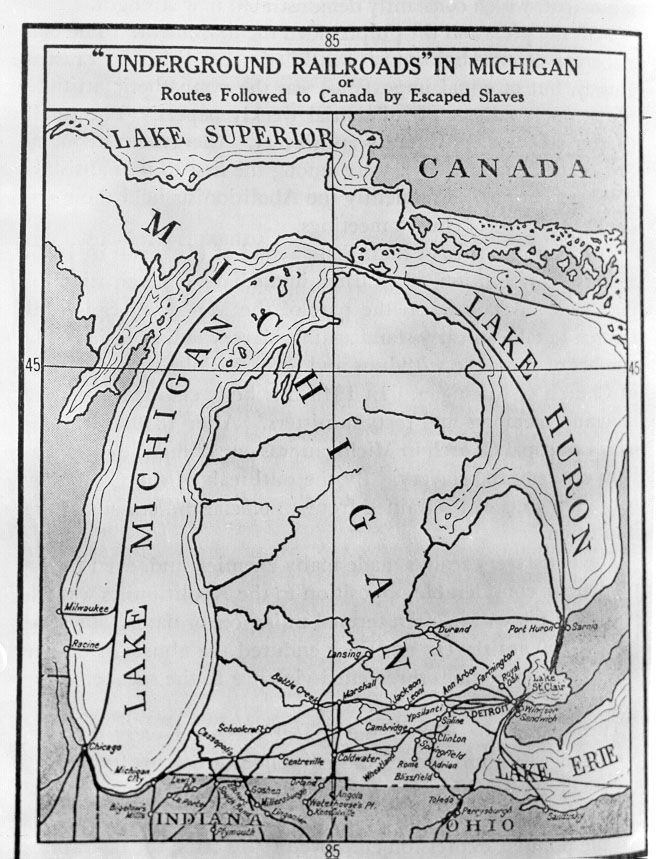 Michigan Map Plus Canada The routes followed by escaped slaves to Canada. Underground