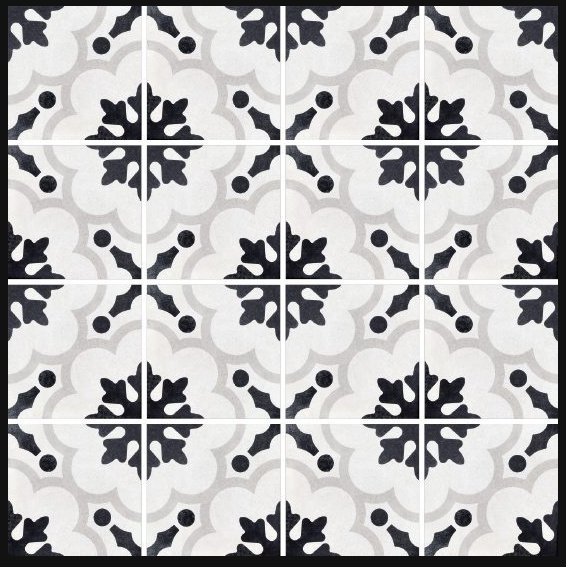 Fioranese Cementine B&W2 8x8 cement look tile   Cement look tiles in
